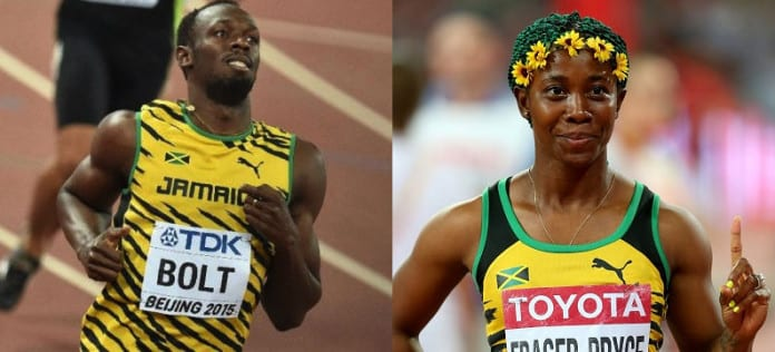 Usain Bolt and Shelly-Ann Fraser-Pryce at the 2015 IAAF World championships in Beijing