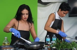 Miss Jamaica World 2008, Brittany Lyons and Miss Universe Jamaica 2014, Kaci Fennell  face off for the Publix Celebrity Quick Fire Challenge trophy.