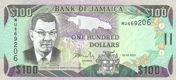 The Jamaican one hundred dollar bill bears Donald Sangster's face.