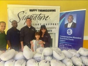 Signature Flight Support served as a major sponsor of Chairman Monestime's annual Thanksgiving turkey giveaway.