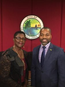 Jamaica's Consul General Franz Hall (right) congratulating newly elected Mayor of Lauderdale Lakes Hazelle Rogers (left) at the swearing-in ceremony yesterday (Nov. 21) at the City of Lauderdale Lakes.