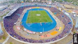 An aerial view of the National Stadium during Boys and Girls Champs 2015