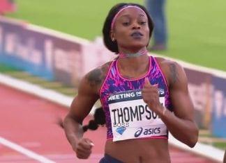 Elaine Paris running the 100 meter