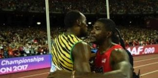 Usain Bolt hugs Gatlin after his defeat - Caribbean National Weekly News