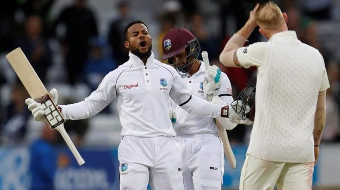 Shai Hope celebrating a West Indies Victory over England - Caribbean National Weekly