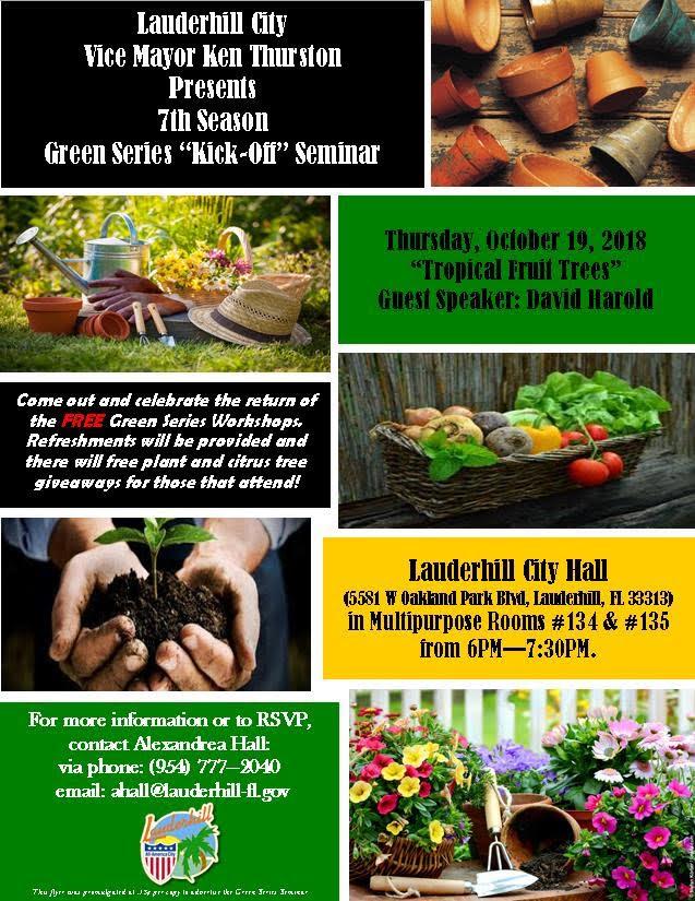 Lauderhill Vice Mayor announces 7th Annual Green Series