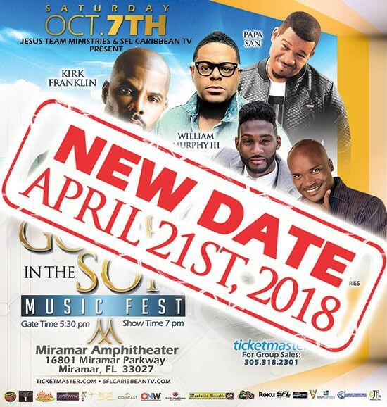 Kirk Franklyn and Friendship's Gospel in the Son concert rescheduled to April, 21, 2018