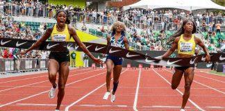 Elaine Thompson winning 2021 Prefontaine 100m